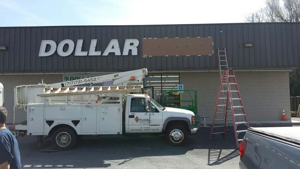 GS Flook truck in front of Dollar Tree