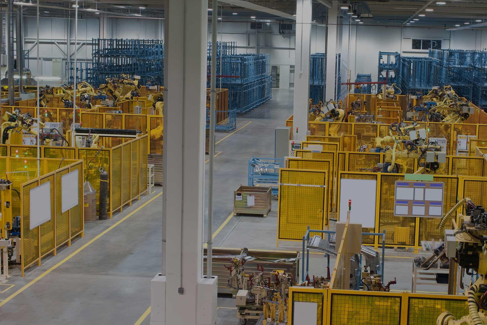 yellow warehouse with machines
