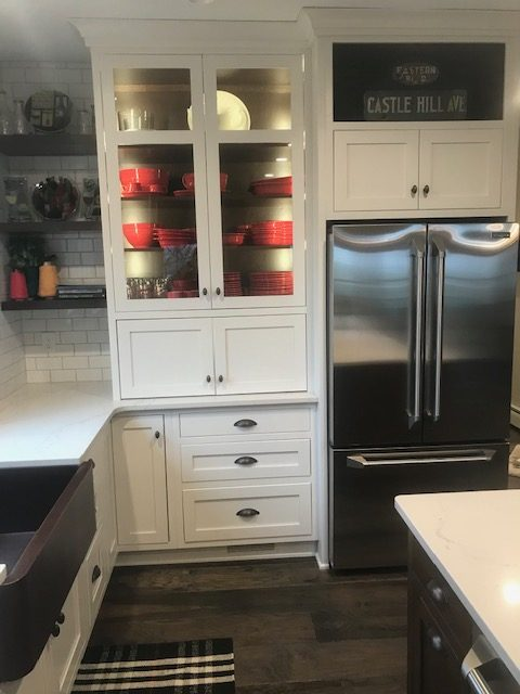 white cabinet in kitchen